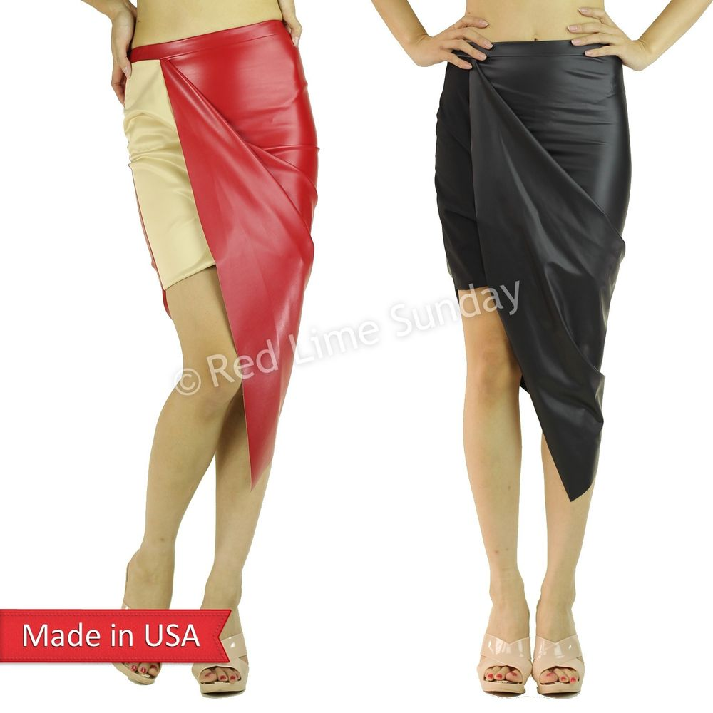Sexy Hot Asymmetrical Wrapped Faux Leather High Low Pencil Slim Fitted Skirt