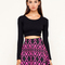 Buy motel kadie high waist skater skirt in neon aztec pink at motel rocks