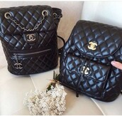 bag,chanel,black,chanel bag,bucket bag,black bag,black backpack