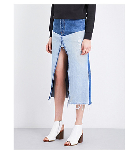 DONE High-waisted distressed denim midi skirt