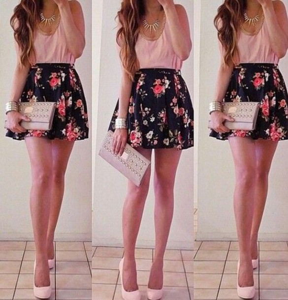 skirt floral dress floral skirt pink tank top pretty pretty skirt cute skirt cute summer outfits heels pink floral necklace summer dress mini skirt clutch
