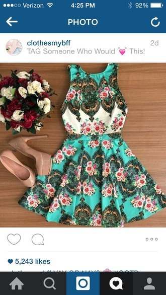 dress floral dress blue dress pink high heels pumps nude pumps classy circle skirt