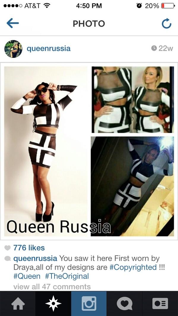dress black white leather two-piece bodycon dress