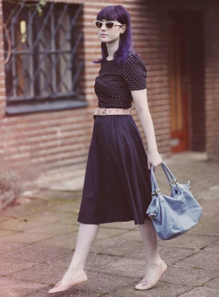 like a riot blogger retro ballet flats midi skirt bag skirt dress sunglasses shoes