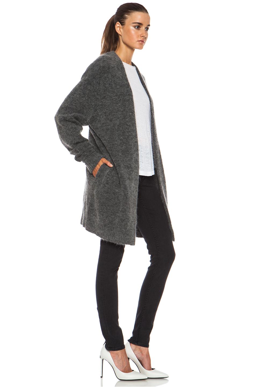Acne Studios | Raya Short Mohair-Blend Cardigan in Grey Melange