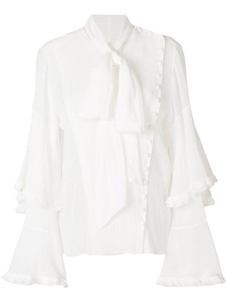 Chloe blouse bow women white cotton silk top