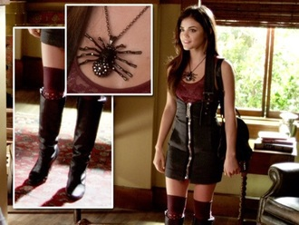 dress black leather skirt black dress outfit jewels style pretty little liars socks
