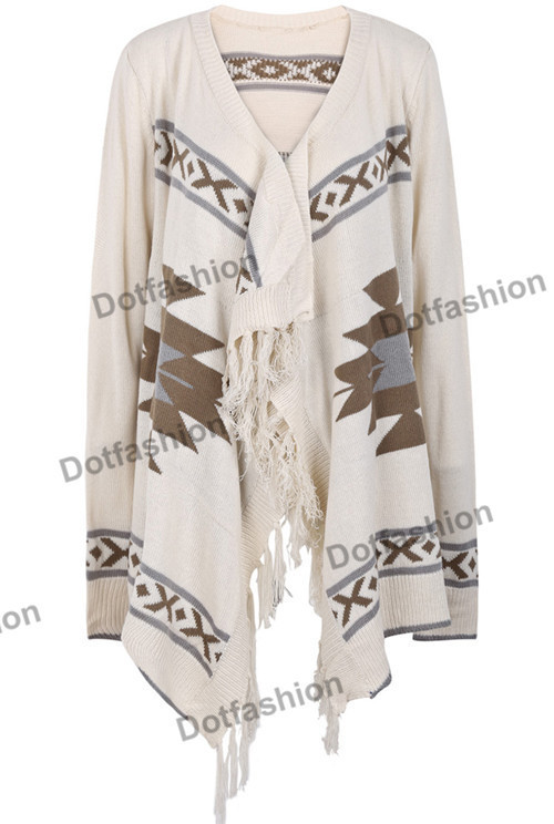New 2014 Spring/Winter Fashion Women's Casual Aztec OversizedCool Apricot Long Sleeve Geometric Pattern Tassel Cardigan Sweater-in Cardigans from Apparel & Accessories on Aliexpress.com