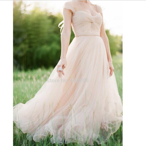 Pink Wedding Dresses With Sleeves: Dress, Blush Pink Wedding Dress Caped Sleeves, Blush Pink