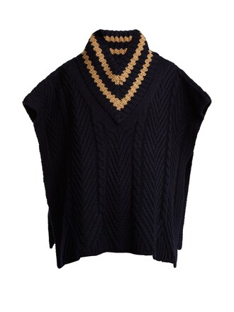 poncho wool knit navy top