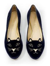 shoes,charlotte olympia,cats,velvet,navy,ballet flats,holiday gift,velvet shoes