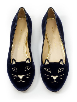 shoes charlotte olympia cats velvet navy ballet flats holiday gift velvet shoes