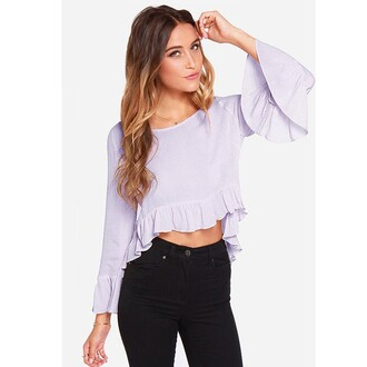 blouse light purple women falbala trumpet sleeve blouse light purple women falbala trumpet trumpet sleeve crop tops sexy round neck lovely summer fashion girl girly pants