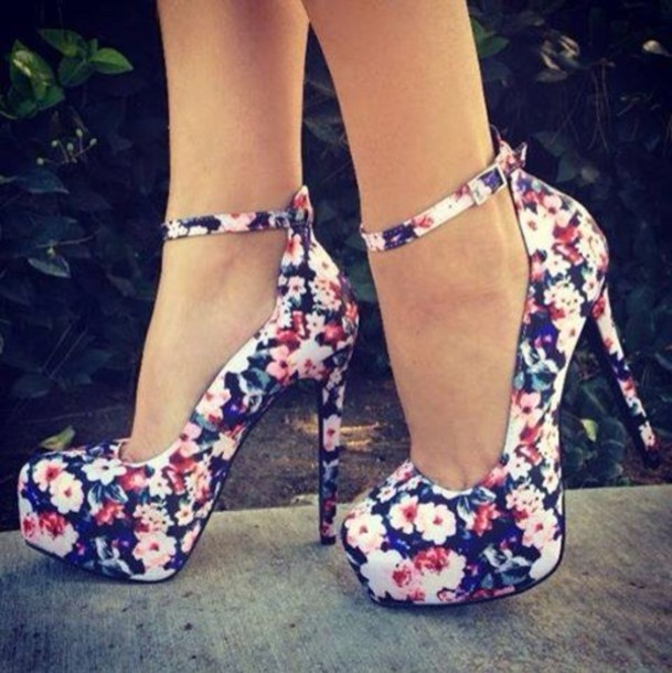 6233c3b00a62c1 shoes floral heels high heels pumps floral flower pattern floral heels  floral high heels flowered shoes