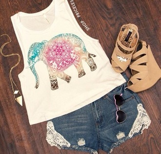 shirt top pants elephant elephant shirt elephant top rainbow elephant