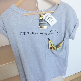 t-shirt yeah bunny pocket summer sunflower