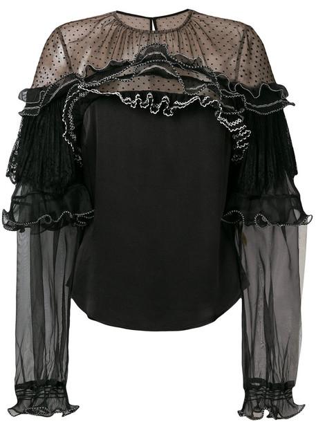 self-portrait blouse women lace black top