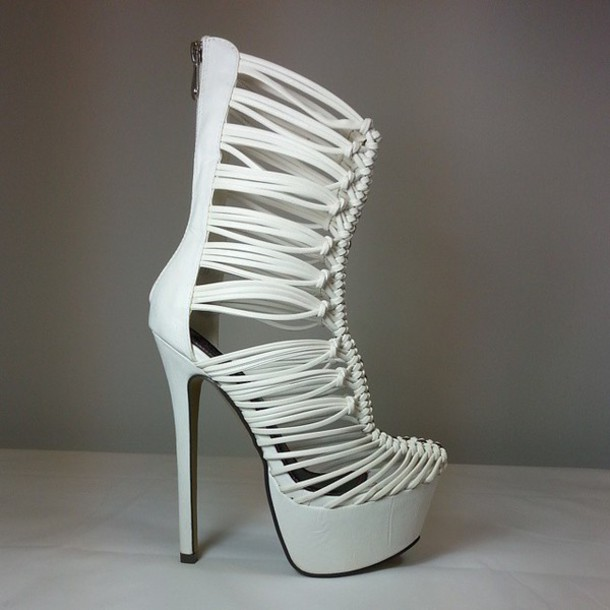 Shoes: high heels, strappy heels, strappy sandals, white heels ...