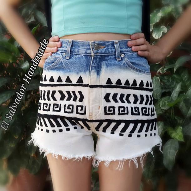 shorts High waisted shorts high waisted jeans cotton tribal shorts aztec short tribal pattern aztec bleached shorts handmade blue shorts