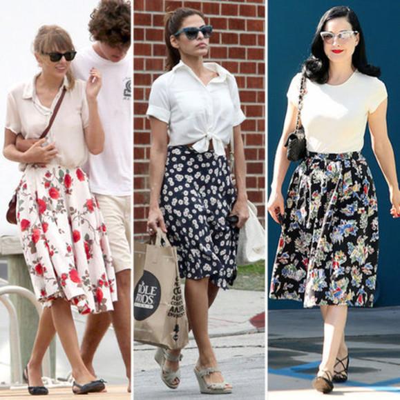 retro 50s midi skirt floral skirt skirt vintage clothes 50s style roses