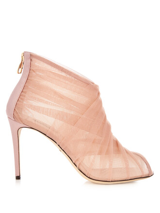 pleated open boots ankle boots light pink light pink shoes
