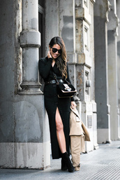 wendy's,lookbook,blogger,shoes,jacket,sweater,dress,bag,jumpsuit,black bag,black dress,knitted dress,trench coat,coat,ankle boots,burberry,acne studios,prada,prada bag,black sunglasses,ring,streetstyle,maxi knit dress,black knit dress