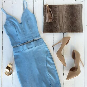 top crop tops bralette skirt matching set set clutch snake print nude heels cuffs gold blue baby blue gojane