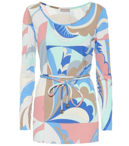 Emilio Pucci Printed silk-blend top in blue