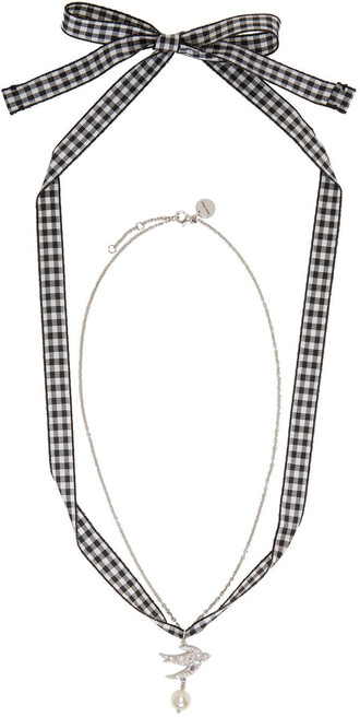 pearl necklace silver jewels