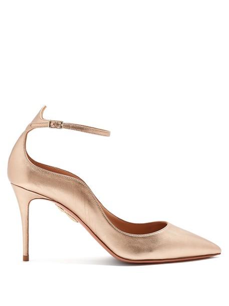Aquazzura pumps leather gold shoes