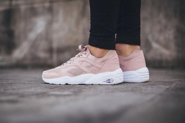 Shoes: trinomic, puma, pink, beige, white, girl, women ...