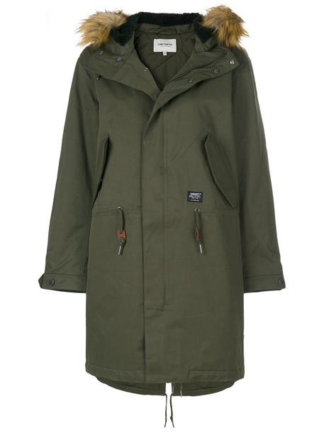 Carhartt parka fur women cotton green coat