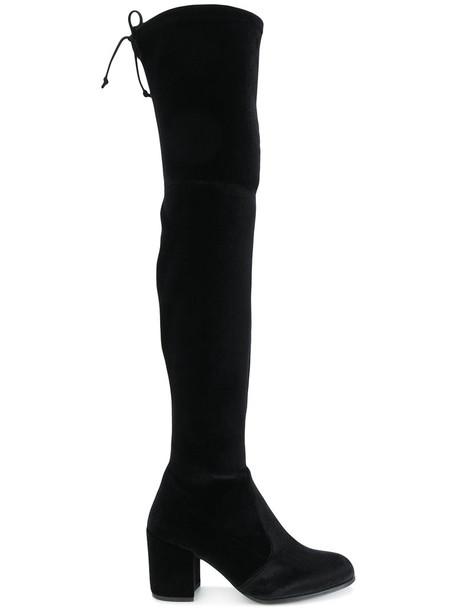 STUART WEITZMAN women leather black velvet shoes