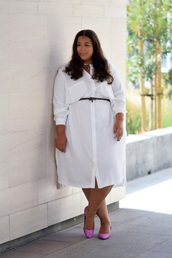 garner style,blogger,dress,shoes,belt,plus size dress,shirt dress,plus size,curvy,long sleeves,long sleeve dress,white dress,midi dress,pumps,pink heels,spring outfits