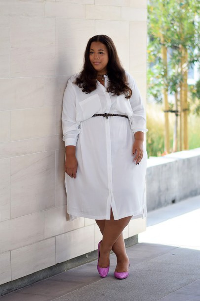 garner style, blogger, dress, shoes, belt, plus size dress, shirt ...