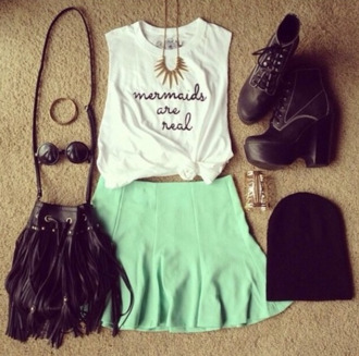 shirt skirt high heels bag fringes beanie bracelets sunglasses necklace gold black mermaid cute weheartit vintage white jewels hat shoes