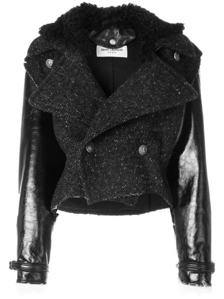 Saint Laurent jacket biker jacket women leather cotton black silk wool