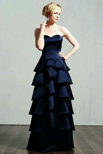 dress navy formal dress layered a line dress prom dress sweetheart neckline strapless