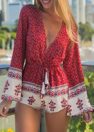 romper zaful girly girl girly wishlist style summer outfits summer red red romper plunge v neck long sleeves cute print blonde hair fashion