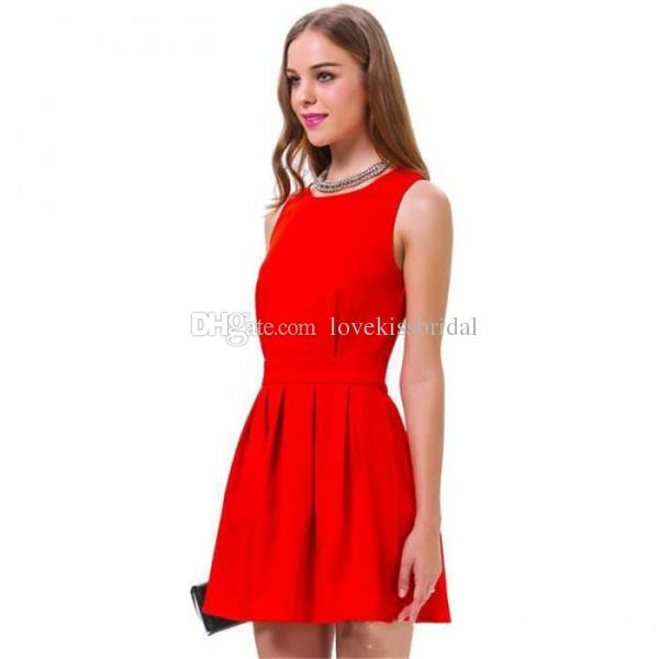 Discount 2015 New Christmas Little Red Evening Dresses Scoop Neck ...
