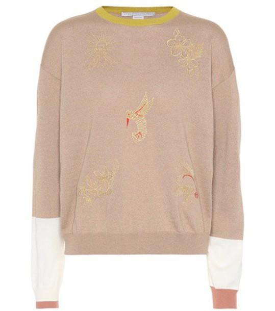 Stella McCartney Embroidered wool sweater in beige / beige