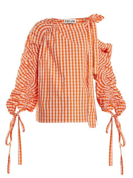 TEIJA top cotton gingham white orange