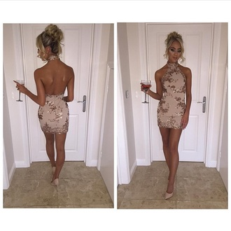 dress nude pink glitter rose gold bodycon dress