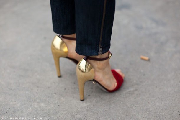 Metallic Shoes - A Metallic Red Gold Shoes Sandals High Heels