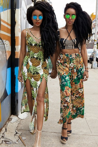 dress pineapple print tropical spilt white dress yellow dress marigold heels shoes mixed boho dress pineapple pineapple dress white green green dress yellow sunglasses long hair rasta lipstick make-up black women
