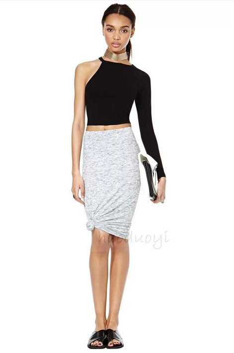 2015 new fashion asymmetric one shoulder slim crop top casual t shirt black knitted top bottoming shirt women plus size haoduoyi
