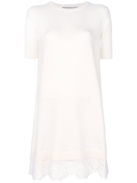 Ermanno Scervino - scalloped lace jumper dress - women - Acrylic/Polyester/Wool/Virgin Wool - 38, White, Acrylic/Polyester/Wool/Virgin Wool