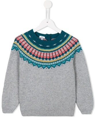 jumper girl toddler jacquard geometric grey sweater
