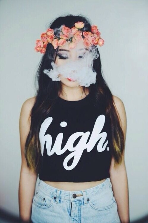 shirt crop tops high shorts tank top hat black white flowers high shirt smoke cute girl shirts t-shirt top black top