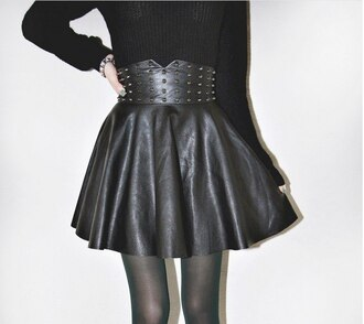 skirt leather skirt skater skirt rivet black gold rivets